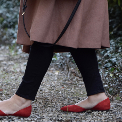Girl With Curves featuring red flats from J Crew.