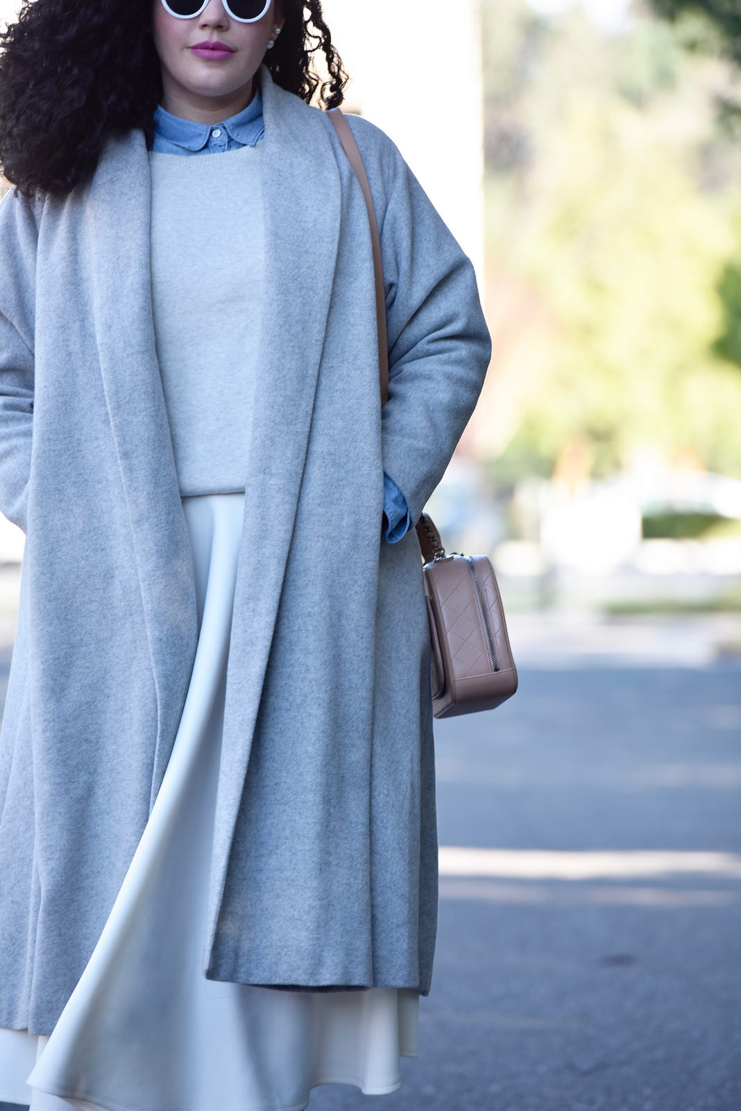 Girl With Curves featuring a grey trapeze coat from Asos, Ruffle Sweater from Asos, White Midi Skirt from Asos and Chanel Bag.