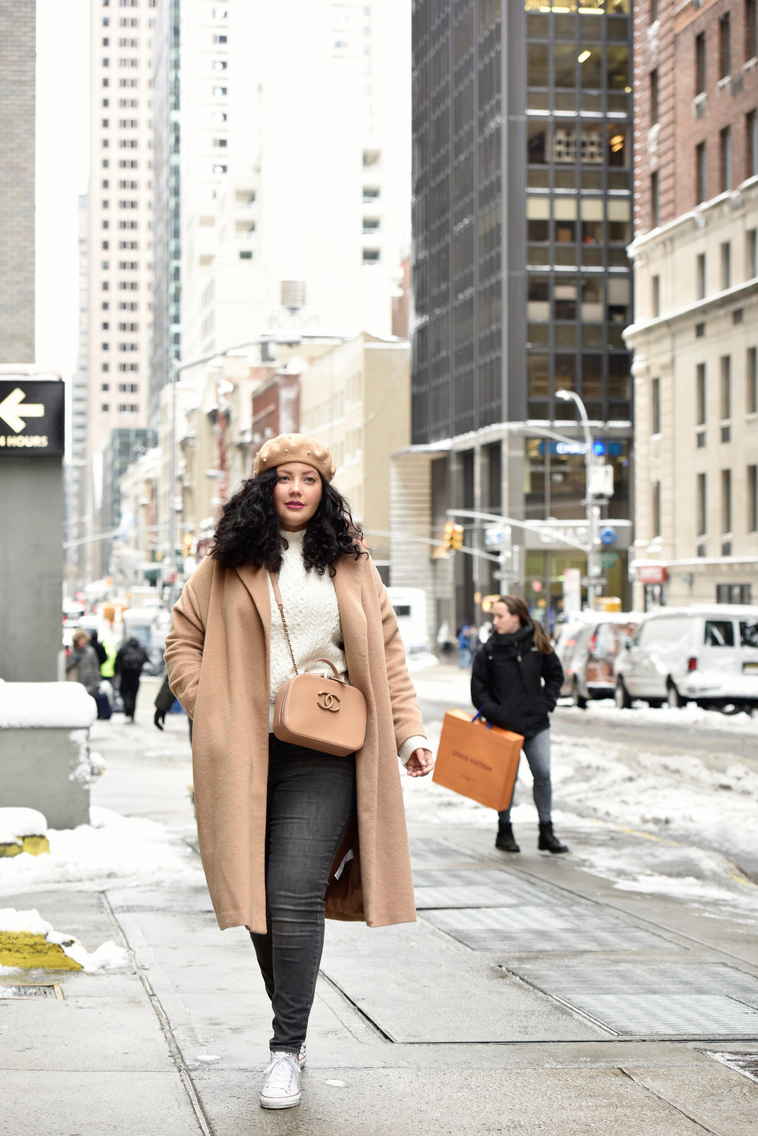 Girl with Curves featuring a pearl beret from nordstorm, camel coat from Asos, cream sweater from Asos, lipstick from sephora, plus size gray rockstar jeans from Old Navy, handbag from chanel, and shoes from converse