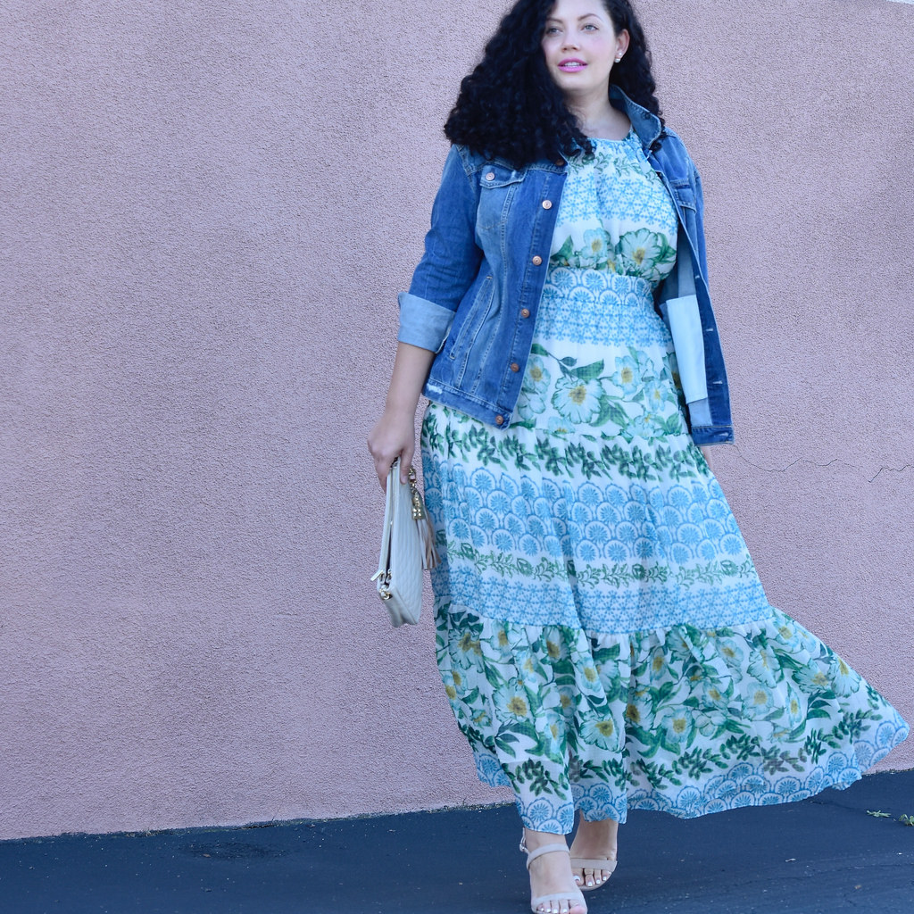Plus size Maxi Dress by Eliza J, Bag from BCBG, Shoes by Nordstorm, Love Lorn Lipstick by Mac, and Denim Jacket via @girlwithcurves
