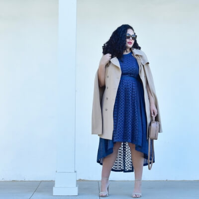 Lace high low dress by modcloth, wedding outfit, Chanel bag, Celine sunglasses, lipstick by Nars via @GirlWithCurves