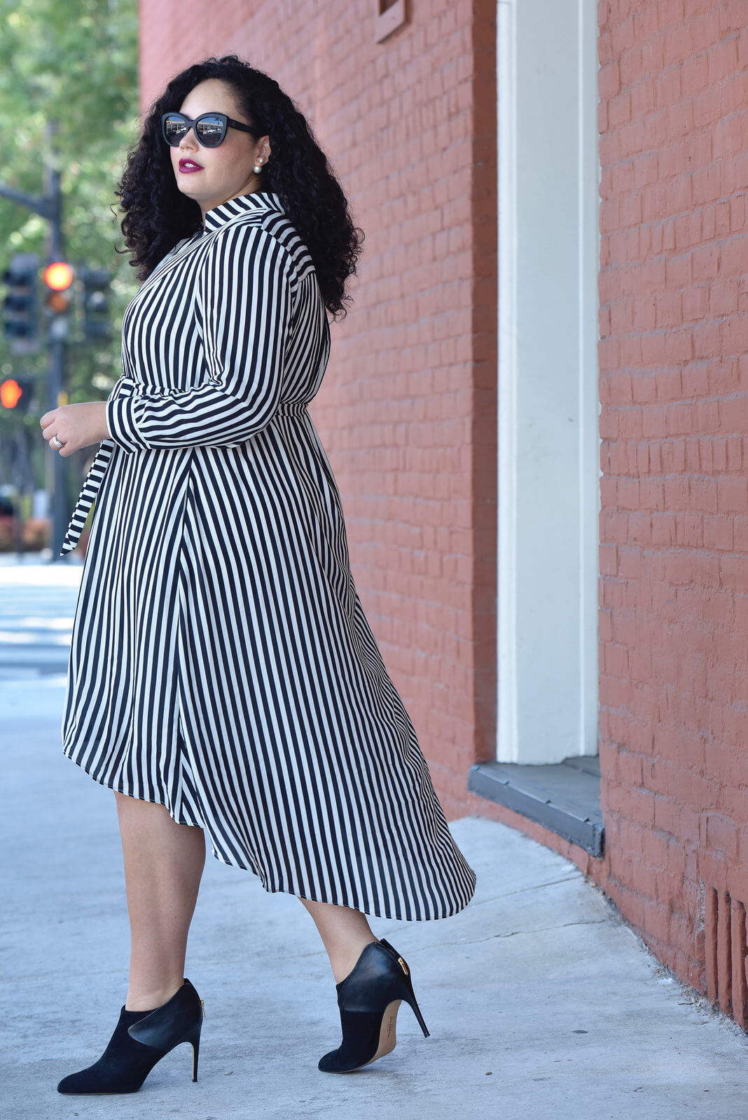Girl With Curves Collection Miranda Stripe plus size shirt dress