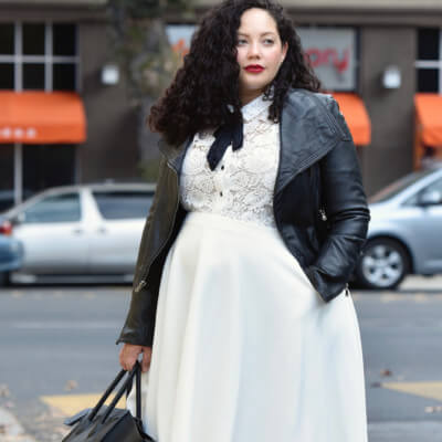 An Unexpected Pairing, Leather And Lace via @GirlWithCurves #ootd #plussiz