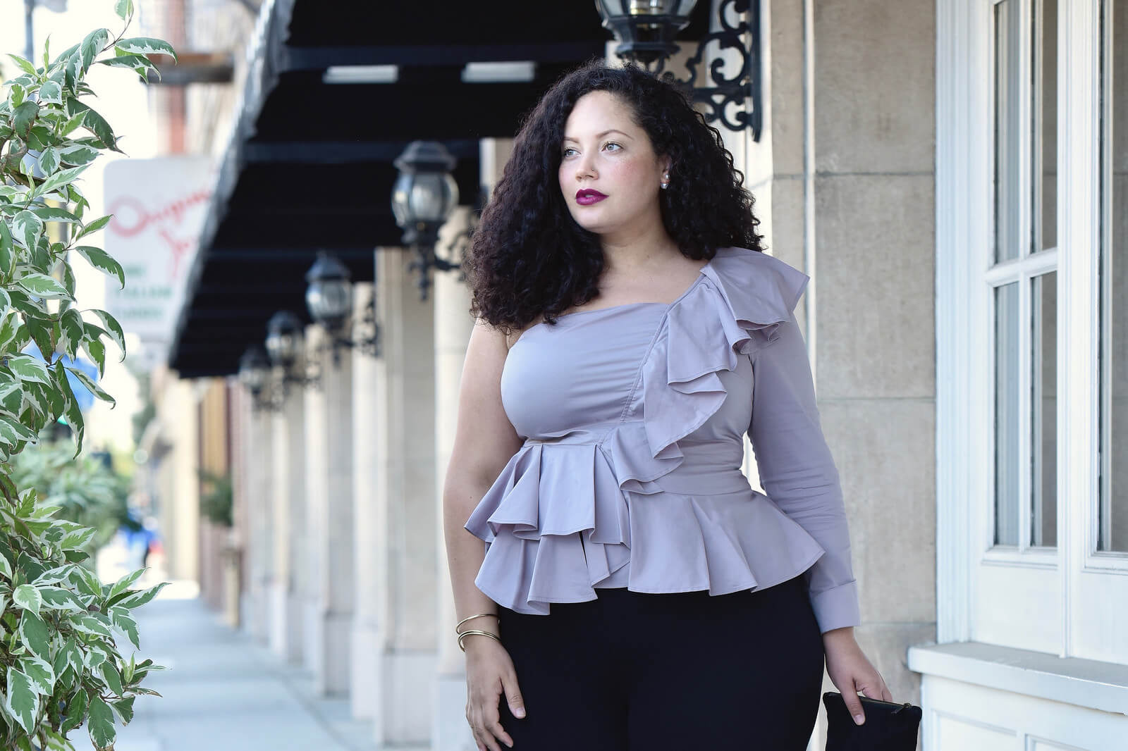 How To Dress Up Pants For The Holidays via @GirlWithCurves  #leggings #ruffles #formal