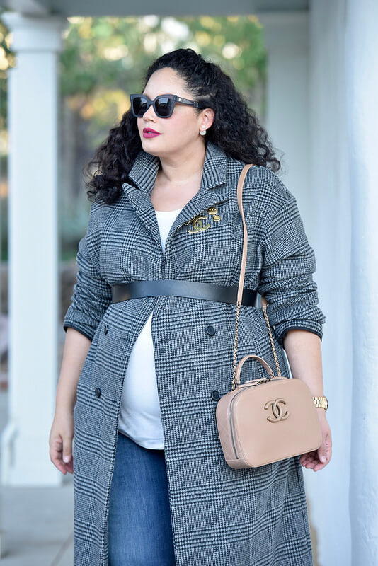 The Must Have Coat Of The Season via @GirlWithCurves #outfit #style #fashion #fall #check #coat #maternity