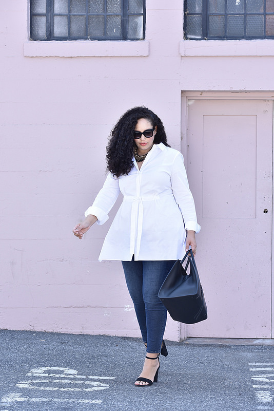 The Chic White Blouse To Wear With Jeans Via @girlwithcurves #style #fashion #officewear Featuring Lafayette148NY